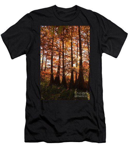 Men's T-Shirt (Slim Fit) featuring the photograph Sunlit Trees At Lake Murray by Tamyra Ayles