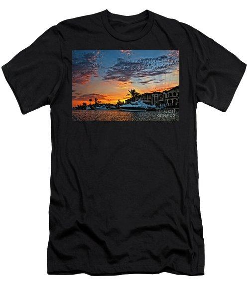 Sunrays Sunset Over Huntington Harbour Men's T-Shirt (Slim Fit) by Peter Dang