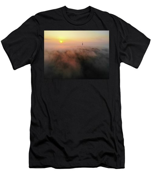 Men's T-Shirt (Athletic Fit) featuring the photograph Sunrise And Morning Fog Warm Orange Light by Matthias Hauser