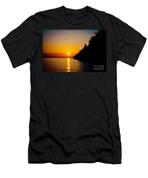 Sunrise And Seascape Orange Color Men's T-Shirt (Athletic Fit)