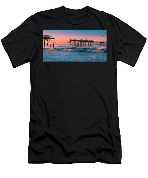 Men's T-Shirt (Athletic Fit) featuring the photograph Sunrise At Outer Banks Fishing Pier In North Carolina Panorama by Ranjay Mitra