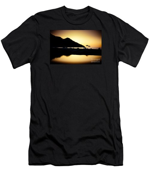 Sunrise At Sea Coast Brown Men's T-Shirt (Athletic Fit)