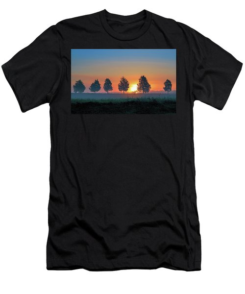 Men's T-Shirt (Athletic Fit) featuring the photograph Sunrise Behind The Cedars by Lori Coleman
