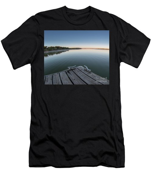 Sunrise On A Clear Morning Over Large Lake With Fog On Top, From Men's T-Shirt (Athletic Fit)