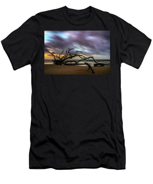 Men's T-Shirt (Athletic Fit) featuring the photograph Sunrise On Driftwood Beach, Jekyll Island, Ga by Michael Sussman