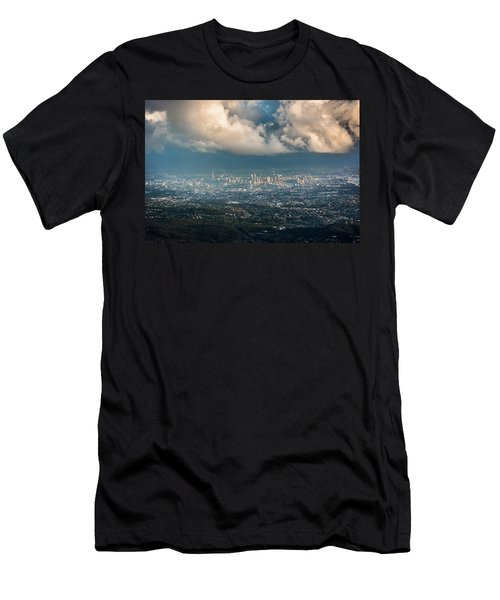 Men's T-Shirt (Slim Fit) featuring the photograph Sunrise Over A Cloudy Brisbane by Parker Cunningham