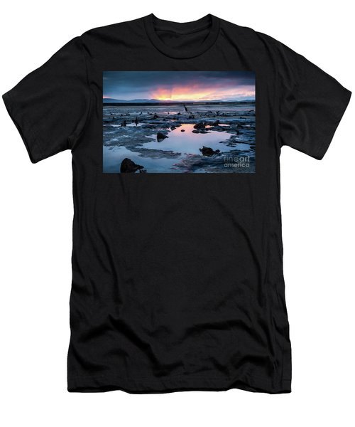 Sunrise Over The Bronze Age Sunken Forest At Borth On The West Wales Coast Uk Men's T-Shirt (Athletic Fit)