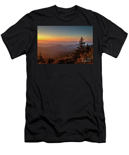 Men's T-Shirt (Slim Fit) featuring the photograph Sunrise Over The Smoky's V by Douglas Stucky