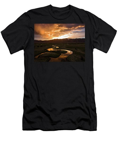 Men's T-Shirt (Athletic Fit) featuring the photograph Sunrise Over Winding River by Wesley Aston