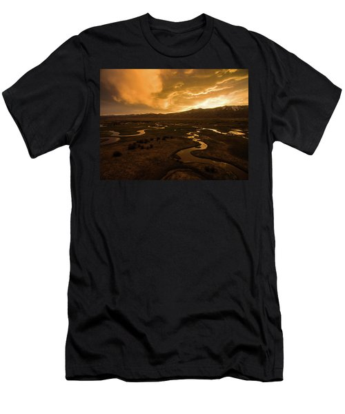 Men's T-Shirt (Athletic Fit) featuring the photograph Sunrise Over Winding Rivers by Wesley Aston