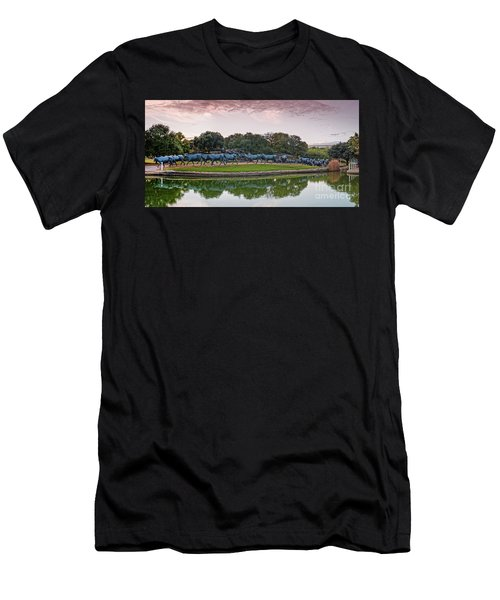 Sunrise Panorama Of Cattle Drive Sculpture At Pioneer Plaza - Downtown Dallas North Texas Men's T-Shirt (Athletic Fit)