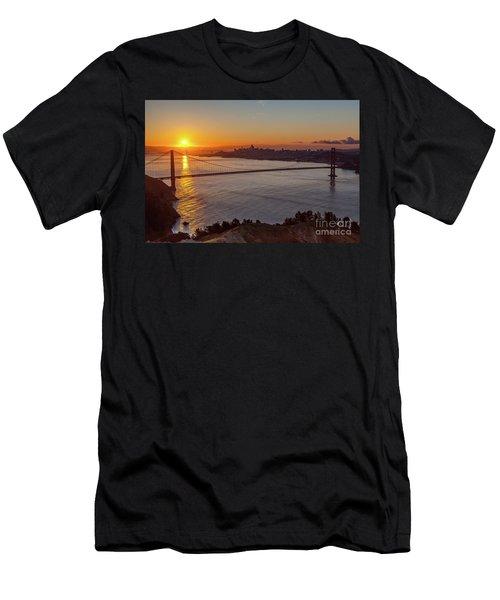 Sunrise Sunlight Hitting The Coastal Rock On The Shore Of The Go Men's T-Shirt (Athletic Fit)