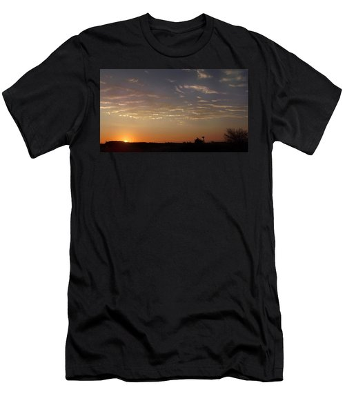 Sunrise With Windmill Men's T-Shirt (Athletic Fit)