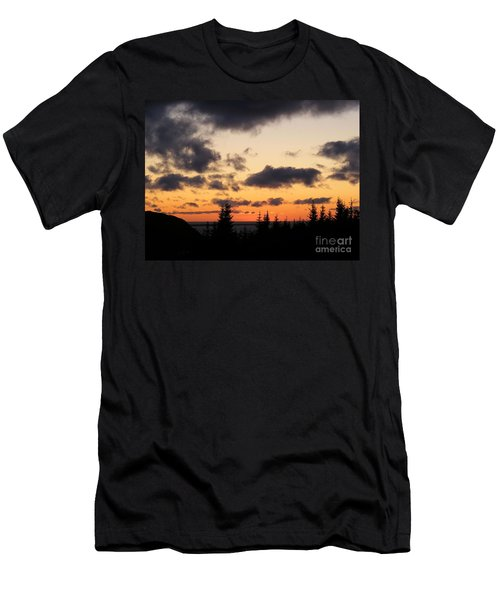 Sunset And Dark Clouds Men's T-Shirt (Slim Fit) by Barbara Griffin