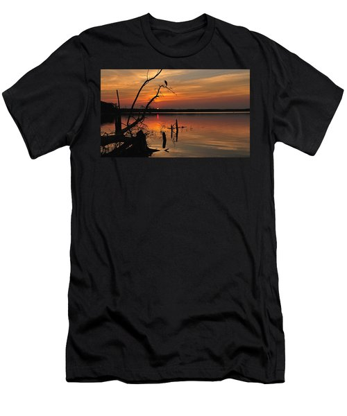 Men's T-Shirt (Athletic Fit) featuring the photograph Sunset And Heron by Angel Cher