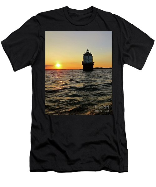 Sunset At Baltimore Light  Men's T-Shirt (Slim Fit) by Nancy Patterson
