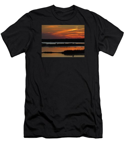 Men's T-Shirt (Slim Fit) featuring the photograph Sunset At Forsythe Reserve 2 by Melinda Saminski