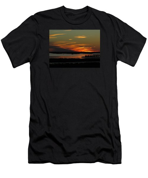 Sunset At Forsythe Reserve Men's T-Shirt (Slim Fit) by Melinda Saminski