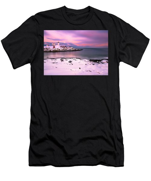 Men's T-Shirt (Athletic Fit) featuring the photograph Sunset At Nubble Lighthouse In Maine In Winter Snow by Ranjay Mitra