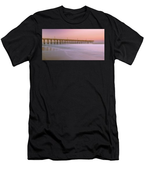 Men's T-Shirt (Athletic Fit) featuring the photograph Sunset At Rodanthe Fishing Pier In Obx Panorama by Ranjay Mitra