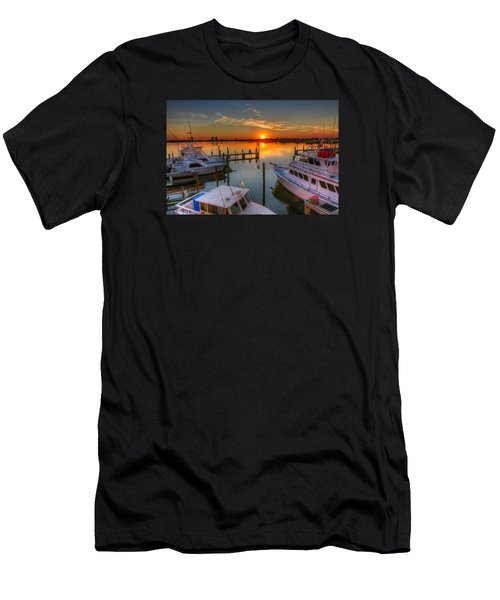 Sunset At The Marina Men's T-Shirt (Slim Fit) by Tim Stanley