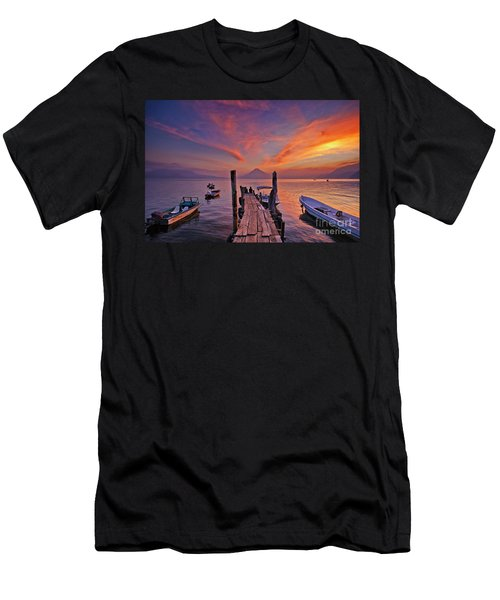 Sunset At The Panajachel Pier On Lake Atitlan, Guatemala Men's T-Shirt (Athletic Fit)