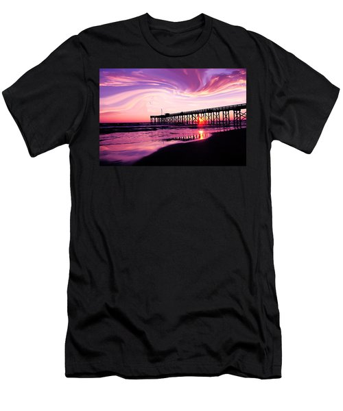 Sunset At The Pier Men's T-Shirt (Slim Fit) by Eddie Eastwood