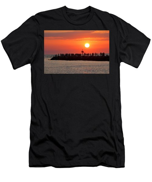 Sunset At The South Jetty, Venice, Florida, Usa Men's T-Shirt (Athletic Fit)