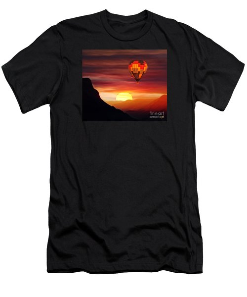 Sunset Balloon Ride Men's T-Shirt (Slim Fit) by Zedi