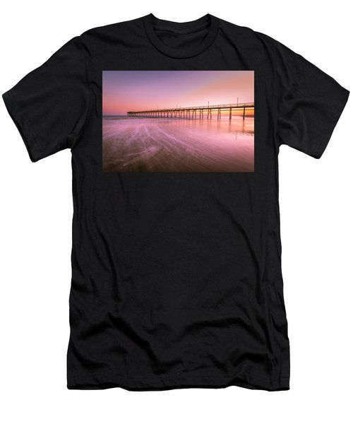 Men's T-Shirt (Athletic Fit) featuring the photograph Sunset Beach Fishing Pier In The Carolinas At Sunset by Ranjay Mitra
