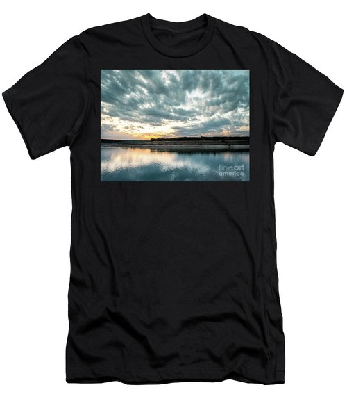 Sunset Behind Small Hill With Storm Clouds In The Sky Men's T-Shirt (Athletic Fit)