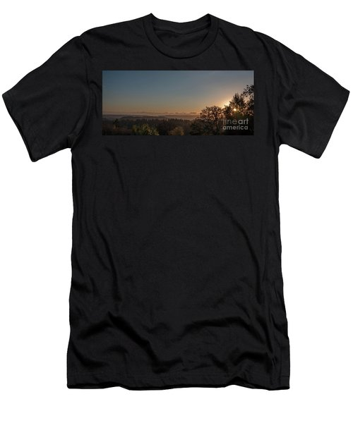 Sunset Behind Tree With Forest And Mountains In The Background Men's T-Shirt (Athletic Fit)