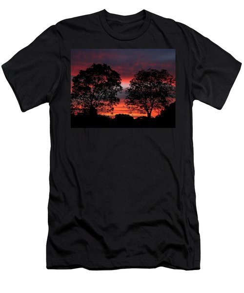 Sunset Behind Two Trees Men's T-Shirt (Athletic Fit)