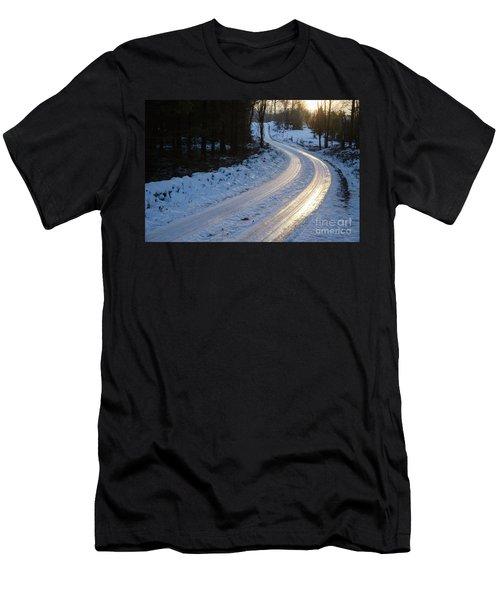 Sunset By An Icy Country Road Men's T-Shirt (Athletic Fit)