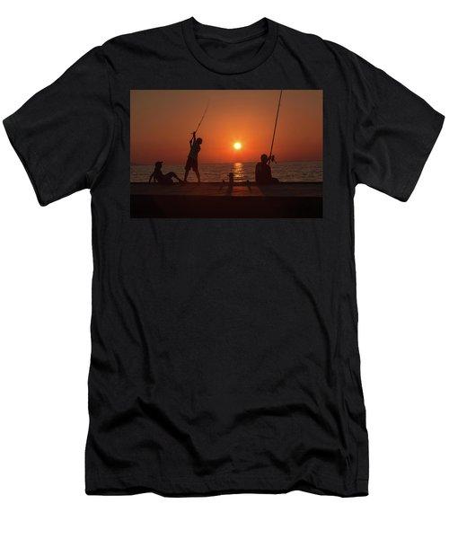 Sunset Fishermenr Men's T-Shirt (Athletic Fit)