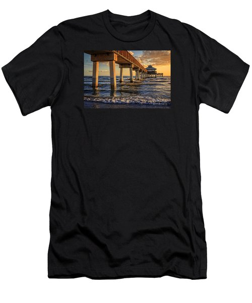 Men's T-Shirt (Athletic Fit) featuring the photograph Sunset Fort Myers Beach Fishing Pier by Edward Fielding