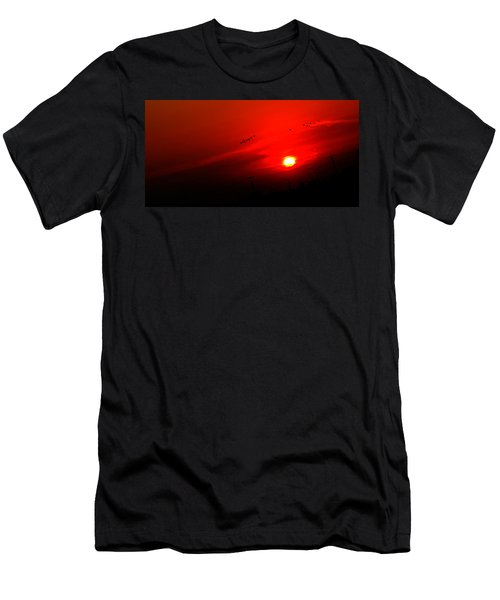 Sunset Geese Leaving Disappearing City - 0814  Men's T-Shirt (Slim Fit) by Michael Bessler