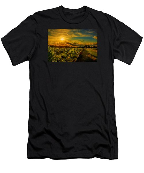 Men's T-Shirt (Slim Fit) featuring the photograph Sunset In A North Carolina Tobacco Field  by John Harding