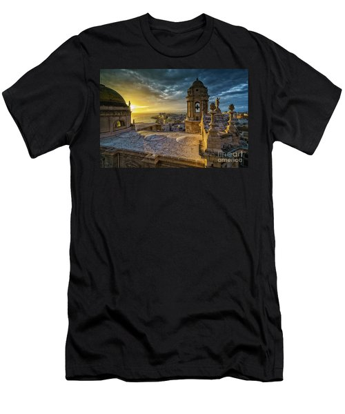 Men's T-Shirt (Athletic Fit) featuring the photograph Sunset In Cadiz Cathedral View From Levante Tower Cadiz Spain by Pablo Avanzini