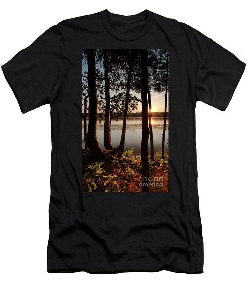 Sunset, Kennebec River, South Gardiner, Maine  -8364-8368 Men's T-Shirt (Athletic Fit)
