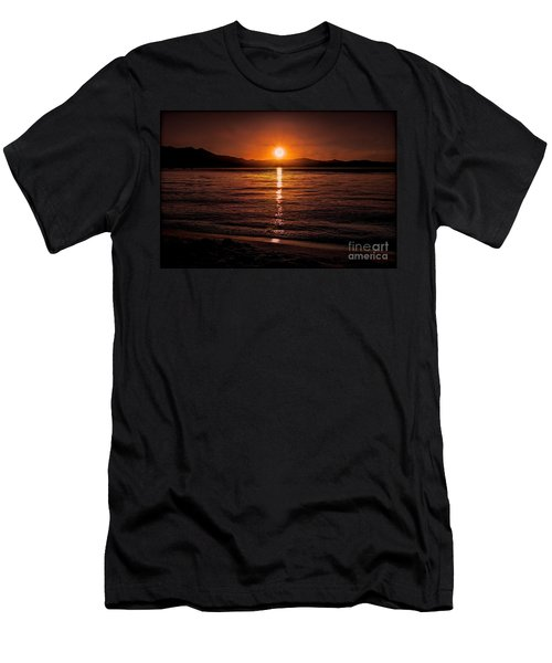 Sunset Lake 810pm Textured Men's T-Shirt (Athletic Fit)