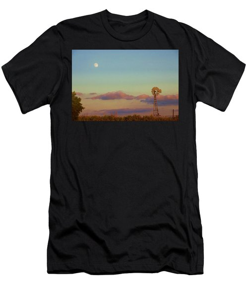 Men's T-Shirt (Athletic Fit) featuring the digital art Sunset Moonrise With Windmill  by Shelli Fitzpatrick