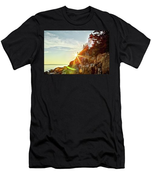 Ocean Sunset On Maine's Bass Harbor Lighthouse Men's T-Shirt (Athletic Fit)