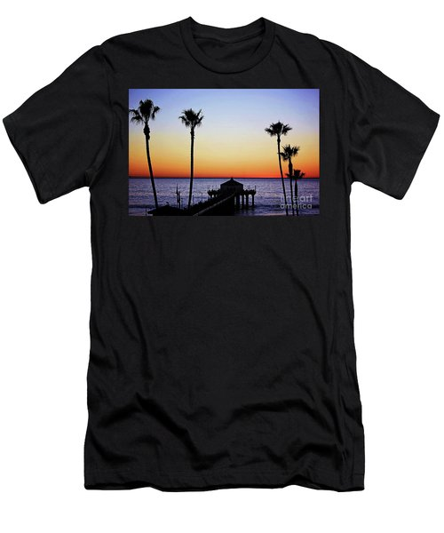 Sunset On Manhattan Beach Pier Men's T-Shirt (Athletic Fit)