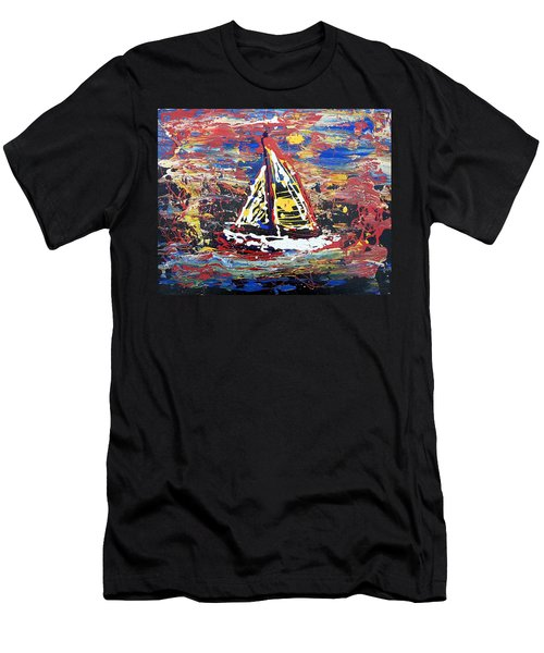 Men's T-Shirt (Slim Fit) featuring the painting Sunset On The Lake by J R Seymour