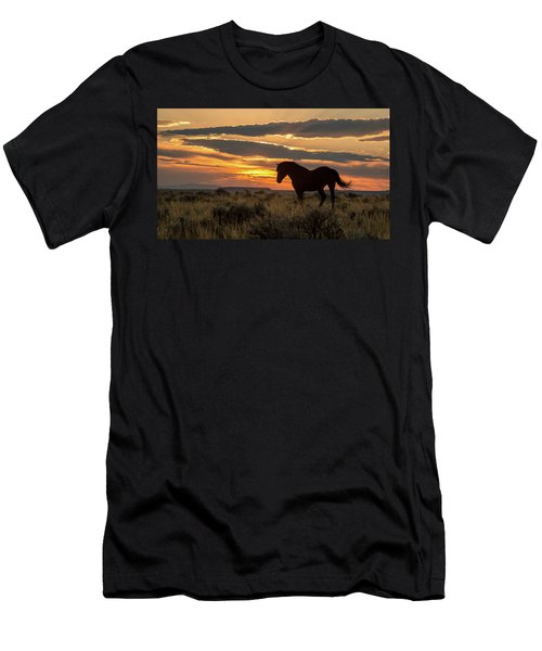 Sunset On The Mustang Men's T-Shirt (Slim Fit) by Jack Bell