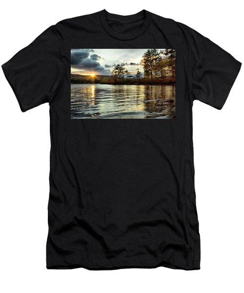 Sunset On Webster Lake  Men's T-Shirt (Athletic Fit)