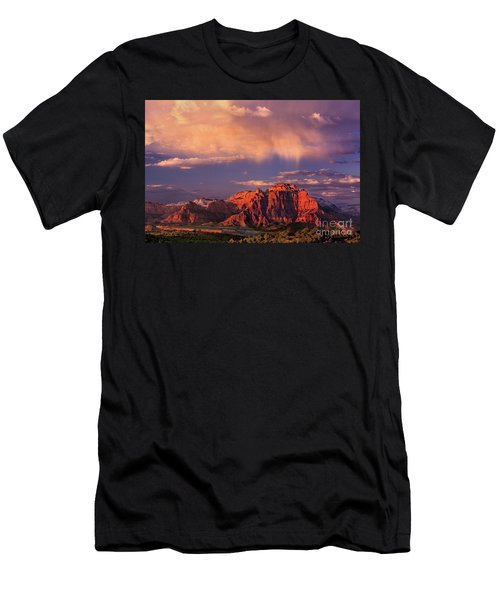 Sunset On West Temple Zion National Park Men's T-Shirt (Athletic Fit)