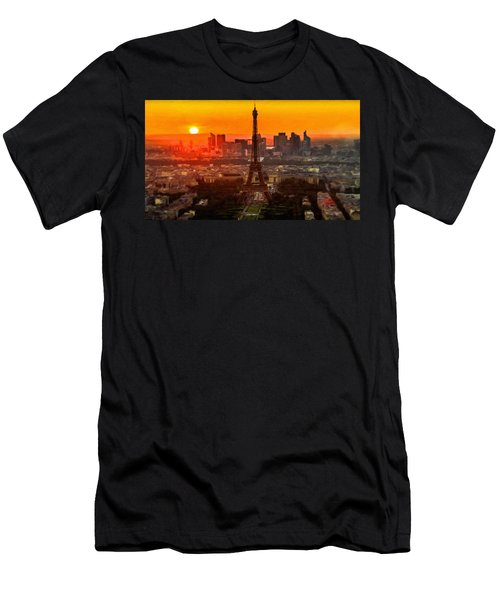 Sunset Over Eiffel Tower Men's T-Shirt (Athletic Fit)