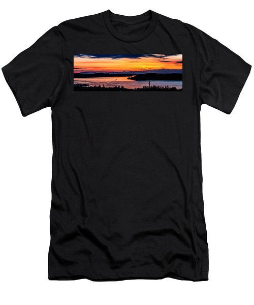 Sunset Over Hail Passage On The Puget Sound Men's T-Shirt (Athletic Fit)